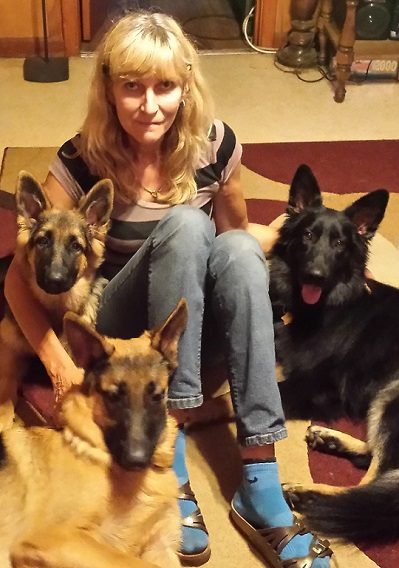 Heidi with dogs