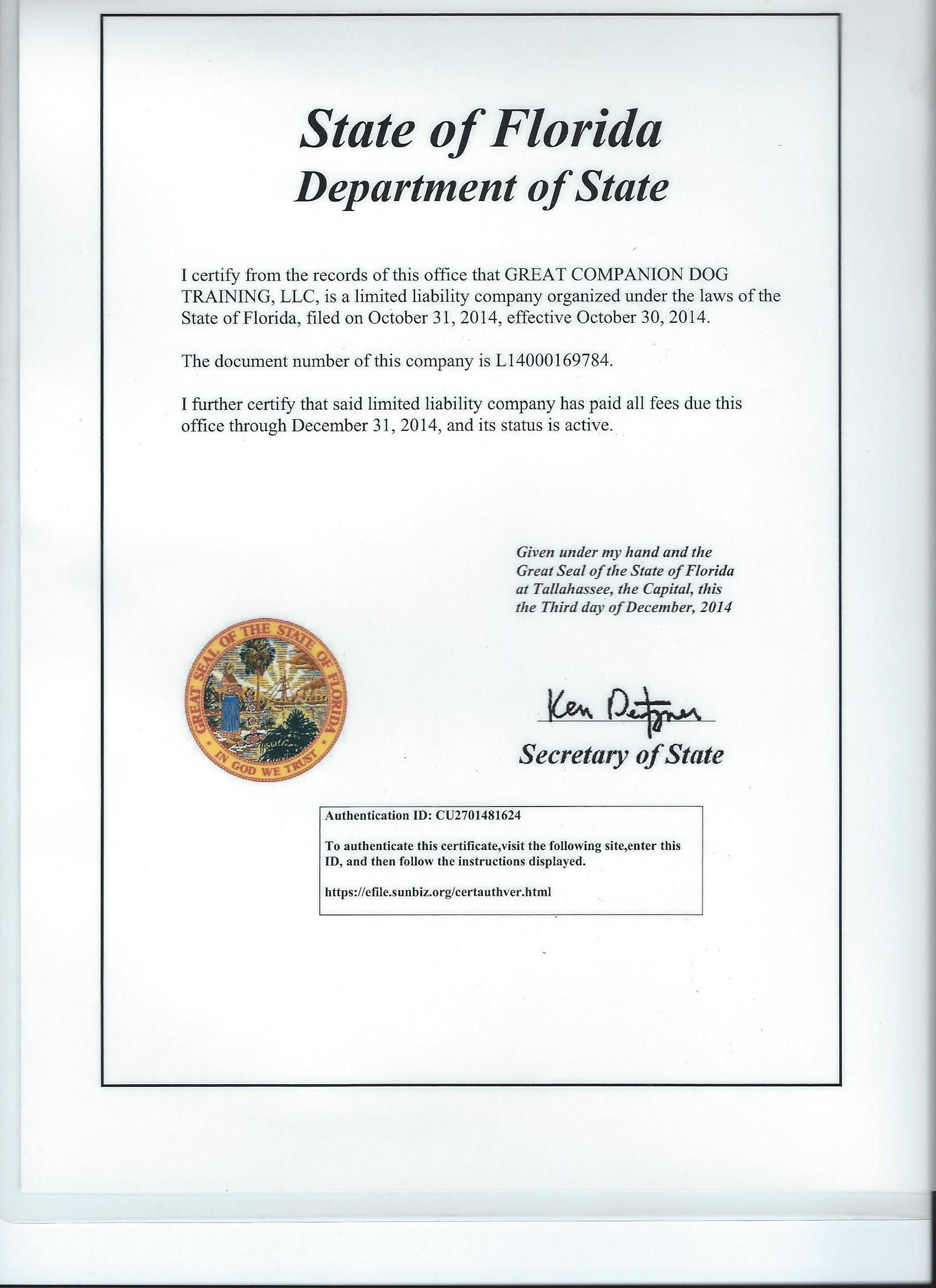 Certificates my k9 training state of florida xflitez Image collections